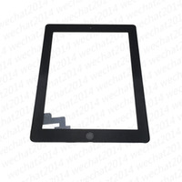 Wholesale Touch Screen Panel Buttons - 50PCS Touch Screen Glass Panel with Digitizer Buttons Adhesive for iPad 2 3 4 Black and White