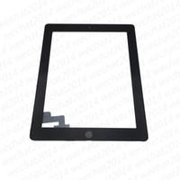 ingrosso bottone mela-60 PZ Touch Screen Panel in vetro con tasti digitalizzatore Adesivo per iPad 2 3 4 Bianco e Nero