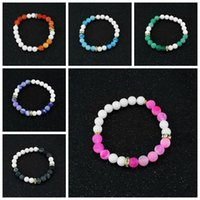 Wholesale Semi Precious Rings - Classic Healing Bracelet With Weathered Agate Healing Energy Stone Gem Semi Precious Gemstone Strand Bracelets Yoga Jewelry