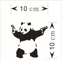 Wholesale outdoor vinyl - 1pc Outdoor Sports Panda Car Stickers 10 cm*10cm Panda Carved Car Stickers Automobile Funny Car Stickers Auto Decals Pasters