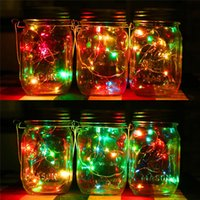 Solar LED Lights Lid Decorações de Natal Painel Solar Mason Jar Lid String Lids Walkway For Glass Mason Jars Garden