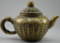 Wholesale Copper Tea Pots - Elaborate Chinese Collectible Decorated Old Handwork Copper Carved Bamboo Basket Statue Tea Pot