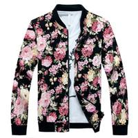 ingrosso giacche floreali-Giacche di twill del cotone della stampa dei fiori degli uomini della giacca del commercio all'ingrosso all'ingrosso 2017 nuovi rivestimenti floreali maschii del bombardiere del collare del basamento Trasporto libero