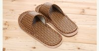 Wholesale Beach Wood Homes - 2017 new Linen bamboo rattan slippers couple home wood floor shoes sand mats four seasons indoor sandals bathroom slippers
