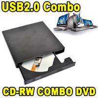 Wholesale Dvd Burner Pc - Wholesale- 2017 Slim External USB CD-RW Rewrite Burner Recorder Optical Drive Mobile DVD ROM Reader Combo for Tablets Computer PC Laptop