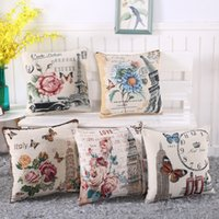 Wholesale butterfly seat covers online - Vintage Flowers Cotton Linen Cushion Cover Decorative Pillowcase Chair Seat towel butterfly Square x45cm Pillow Cover Home Living