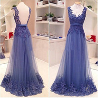 Wholesale Transparent Lace Applique Gown - New Arrival Backless A Line Prom Dresses V-Neck Lace Transparent Real Picture Handmade Appliques Formal Gowns Custom Size Fashion Hot 2017