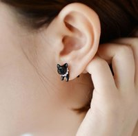Wholesale 3d ear studs resale online - Fashion Cat Kitten Stud Earrings Impalement Cute D Black Cat Pearl Crystal Earring Punk Puncture Animal Ear Stud for Girls Women