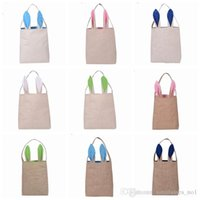 Wholesale Clothe Hand Bags - 10 Colors Christmas Gifts Bunny Ears Tote Bags Large Sack Bag Canvas Cotton Stocking Bag Hand Bag 25.5*30.5*10cm PPA664