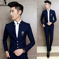 Wholesale Chinese Boys Suit - Wholesale- 2017 New 2PCS Set Slim Fit Prom Homme Men Costume Wedding Suits Classic Chinese Collar Party Dress Suits Boys Jacket with Pants