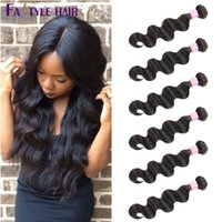 Les Extensions De Cheveux Humains Les Moins Chères Pas Cher-Fastyle Brazilian Body Wave Hair Weft 6 Bundles UNPROCESSED Peruvian Malaysian Indian Virgin Hair Extensions High Quality Low Price