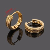 Wholesale Gold Huggie Hoops - 24k Real Solid Gold GF Ear Hook Earrings Jewelry Women all over the world Epacket fast free shipping