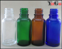 Wholesale Dropper Bottle Green Caps - GR-1#-20ml Europe Round Glossy Clear, Blue, Amber, Green Glass E-Liquid Bottle; CRC Child Proof Resistant Cap; Slender Dropper Pipette