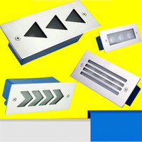 Wholesale Embedded Lamps - 3W Wall Light Outdoor Recessed Wall Lights Embedded Footlights Led Stair Lamp 110V 220V waterproof Outdoor Path Stair Light Landscape Light