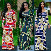 Wholesale Floor Ties - 2017 Autumn&Winter Women's African Totem Print Long Sleeve Tie Waist Surplice Boho Maxi Dress Party Dress