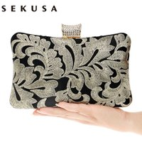 Wholesale Embroidery Dresses For Evening - Vintage Embroidery Clutch Diamonds Luxurious Women Evening Bags Chain Shoulder Small Purse Evening Bag For Evening Dress Bag