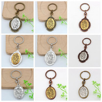 Wholesale keychain motorcycle - MIC 12 pcs St. Christopher Keychain Medal Keychain motorcycle The Automobile-2 Inch Large Automobile Protection Keychain 12 Colors