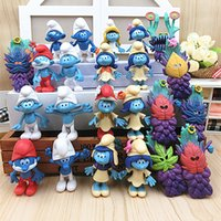 Wholesale Cake Set Toys - 2017 New 24pcs Set Smurfs The lost Village Elves Papa Smurfette Clumsy Action Figures mystery mask Cake Topper Play set Toy
