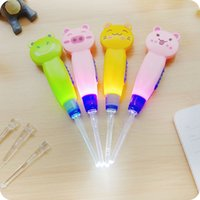 Wholesale Spoon Frog Fishing - Kids Cartoon safe LED Lighting EarPick Earwax Curette Remover Tool ear cleaner spoon flashlight fish cartoon animal cat pig frog style