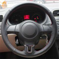 volante vw golf mk6 al por mayor-Cubierta del volante del coche de cuero artificial Mewant negro para Volkswagen Golf 6 Mk6 VW Polo MK5 2010-2013