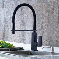 Wholesale Brushed Nickle Brass Pulls - Wholesale- Newest Kitchen Faucet Pull Out Down 360 Degree Rotation Nickle Brushed ORB Single Handle Sink Hot&Cold ,the black kitchen faucet