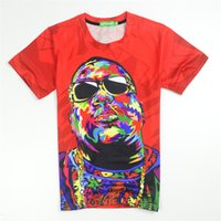 Commercio all'ingrosso - Biggie Smalls T SHIRT Red Tie Dye Maglietta Grafica T-shirt Donna / uomini 3d T-shirt Hip Hop Estate Top Biggie Shades Abbigliamento