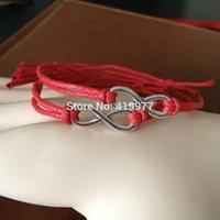 Wholesale Simple Elegant Gold Bangle - Wholesale-1PCS Red Fashion New Style Elegant Simple Jewelry Girl Vintage Braided Infinity Bracelet Rope Wrap Bangle