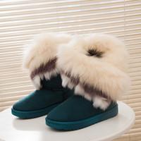 Wholesale Fox Fur Boots - Wholesale-2016 Fashion Fox Rabbit Women Winter Boots Fur Slip-on Blue Snow Boots Female Mid-Calf Suede Shoes X969 30