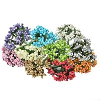 Venta al por mayor- flores falsas Artificial Bud Stamen Berry Bacca Flower para la decoración de la boda DIY Scrapbooking Decorative Wreath 12pcs / Bouquet