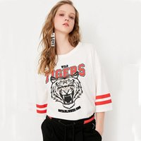 Wholesale Blouse Tigers - 2017 Summer New Style Super Good Quality Leisure and Pure Cotton Round Neck Five-Sleeve Tiger Printing Letter Pasted T-Shirt Top Blouse