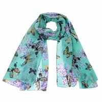 Wholesale Butterfly Design Chiffon - Wholesale-Practical design Women Lady Chiffon Butterfly Print Neck Shawl Scarf Scarves Wrap wonderful gift for lady, women free shipping