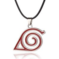 Wholesale Gift Tin Can - Alloy Children Anime Cartoon Naruto Necklace The leaf can Logo mark badge eddy Helix swirl Pendant red Spiral Helical line Necklace x367
