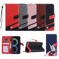 Wholesale note edge wallet cases - Hybrid Hit Color Leather Wallet Case For Iphone X Plus s SE S Galaxy Note S9 S9 S8 S7 Edge Dual ID Card Slot Flip Cover Strap
