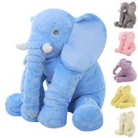 Wholesale Baby Sleep Back - Large Plush Elephant Toy Kids Sleeping Back Cushion Elephant Doll PP Cotton Lining Baby Doll Stuffed Animals 60cm Kids Toys