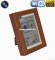 Wholesale Hidden Camera Photo Frame - Spy Camera Wifi Photo H.264 frame Camera Wireless IP Camcorder 1080P HD spy cam DVR Video Recorder Hidden Camera listen device