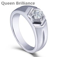 Queen Brilliance 0.5ctw Lab Grown Moissanite Anel de Noivado de Diamante Banda de Casamento Platinum Plated 925 Sterling Silver Men Rings 17903