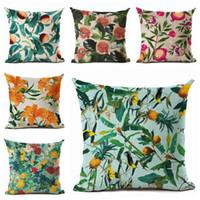 menekşe bitkileri toptan satış-Modern ülke minder örtüsü parlak renkler meyve atmak yastık kılıfı abacaxi dekorasyon bitki çiçek çapa almofada chic cojines
