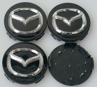 Wholesale Mazda Wheel Center Hub Cap - NEW 4 PC SET MAZDA BLACK GRAY CENTER WHEEL CAPS CHROME EMBLEM 56MM HUB CAP LOGO