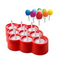 dondurma lolly kalıpları toptan satış-Buz Lolly Kalıp Silikon Mini Buz Pops Kalıp Dondurma Topu Lolly Maker 9 Kavite Ile DIY Popsicle Popsicle Kalıpları Mutfak Aletleri CCA6138 50 adet