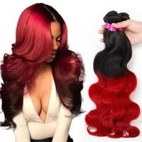 kırmızı ombre saç uzantıları toptan satış-Brezilyalı Bakire Saç Demetleri Vücut Dalga Saç Örgüleri 1B / 27 1B / 4/27 1B / 99j 1B / 30 1B / Kırmızı İnsan Ombre Saç Uzantıları