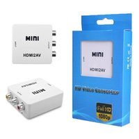 Wholesale AHHROOU Original HD P HDMI To AV RCA CVBS Adapter Mini HDMI2AV Video Converter Box For HDTV TV PS3 Computer PC VCR NTSC