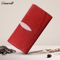 Wholesale Multiple Wallet - Cossroll Genuine Leather Wallet Women Fashion Coin Purse Female Cowhide Multiple Cards Holder Clutch Womens Wallets and Purses