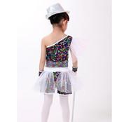 Wholesale dance costume child hip hop - Children Dance Sequined Costumes Jazz Dancewear for Girl Modern Dance Clothing Jazz Hip Hop Street Dance Leotard