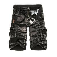 calções de bermuda para homem negro venda por atacado-Atacado-oferta especial Bermuda Masculina Cargo 2016 New Black Camuflagem Shorts Men Cotton Trabalho Casual Shorts Plus Size No Belt
