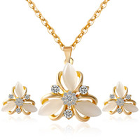 Wholesale clover diamond earrings - Fine Jewelry sets S073 fashion HM big bride jewelry set flowers opal clover Diamond Necklace Earrings