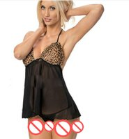 Wholesale Nightdress See Through - Sexy lingerie elastic see-through mesh nightdress leopard underwear temptation Perspective Sexy set brief free shipping