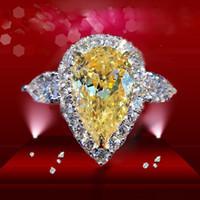 ingrosso pere placcate in argento-ForeverBeauty Anello con diamante a forma di pera gialla 3CT con anelli di fidanzamento in oro massiccio placcato in argento sterling 925