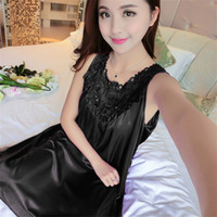 Wholesale Increase Calf Size - 2017 Summer Ms Ice Silk Nightgown, Easing Increased Bud Silk Pajama, Free Size, Free Shipping, 8 COLORS