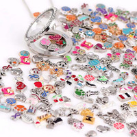 Wholesale Colorful Heart Charm - Colorful Images!100pcs lot Styles Mixed Designs Floating Locket Charm Alloy Charms For Glass Living Lockets Jewelry DIY