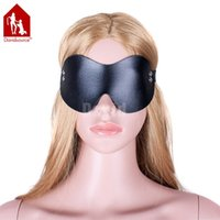 Davidsource Черный кожаный эластичный ремешок Blinder Eyepatch Slave Slut Pig Humilicated Training Gear Bondage Fetish Sex Toy